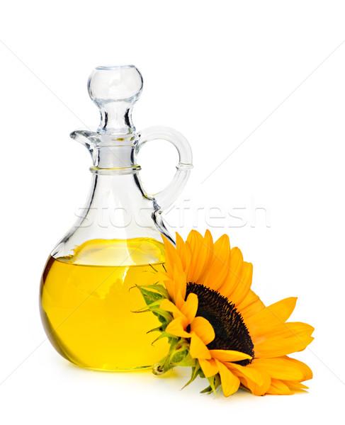 óleo de girassol garrafa flor isolado branco luz Foto stock © elenaphoto