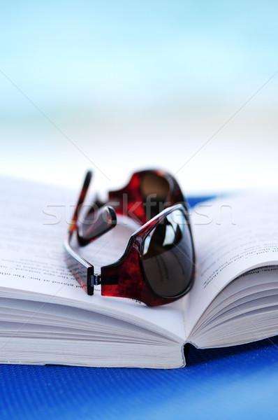 Stok fotoğraf: Güneş · gözlüğü · kitap · şezlong · açık · kitap · yaz · tatili · kadın