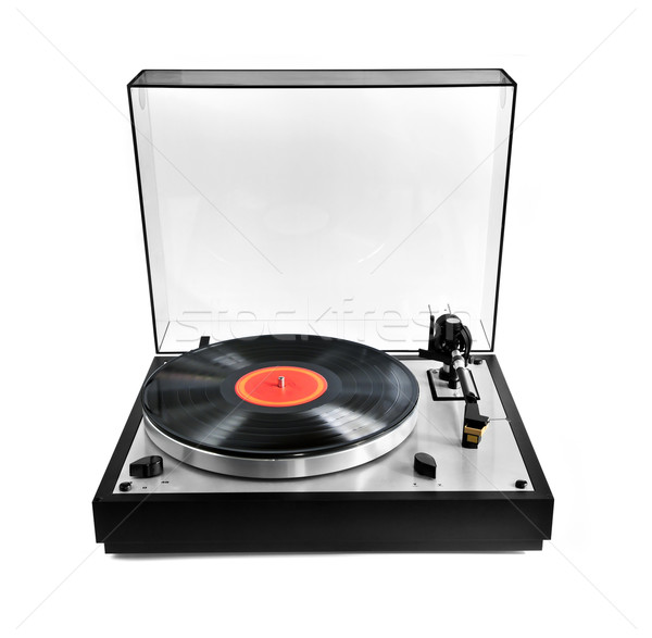 Stockfoto: Record · draaitafel · geïsoleerd · platenspeler · vinyl