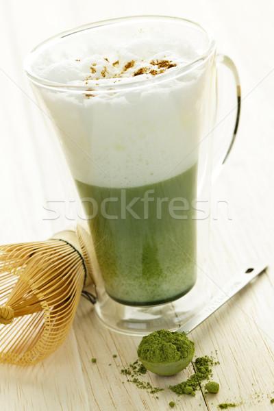 Zöld tea ital üveg bögre habaró étel Stock fotó © elenaphoto