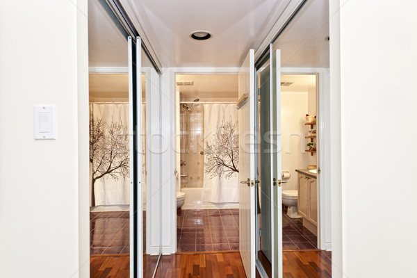Mirrored closets and bathroom Stock photo © elenaphoto