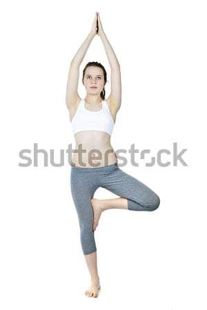 フィット 少女 ツリー ヨガのポーズ 健康 若い女性 ストックフォト © elenaphoto