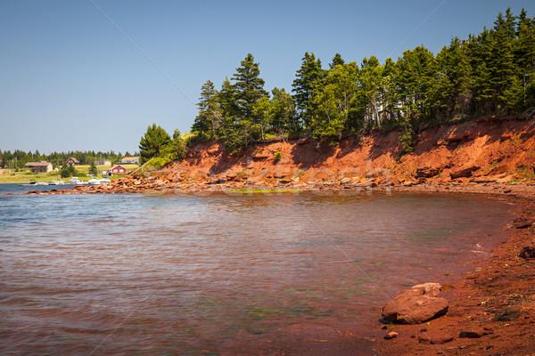 Prince edward adası kırmızı sahil doğa Stok fotoğraf © elenaphoto