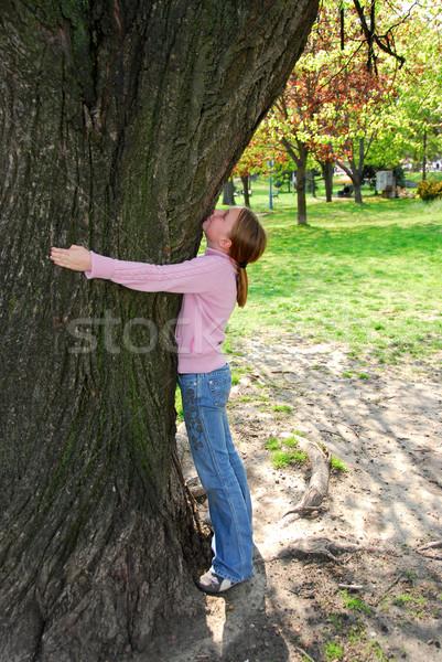 Girl and big tree Stock photo © elenaphoto