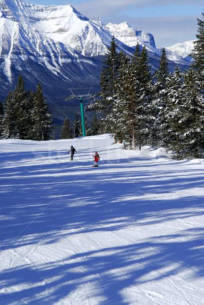 Skiing in mountains Stock photo © elenaphoto