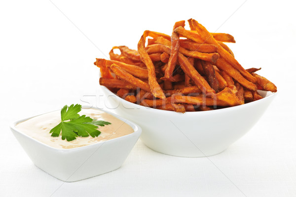 Patate douce frites sauce bol fond orange Photo stock © elenaphoto