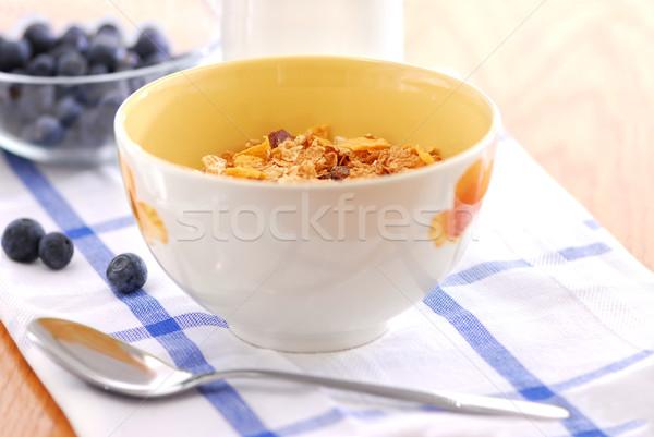 Stockfoto: Gezonde · ontbijt · granen · melk · bosbessen · voedsel
