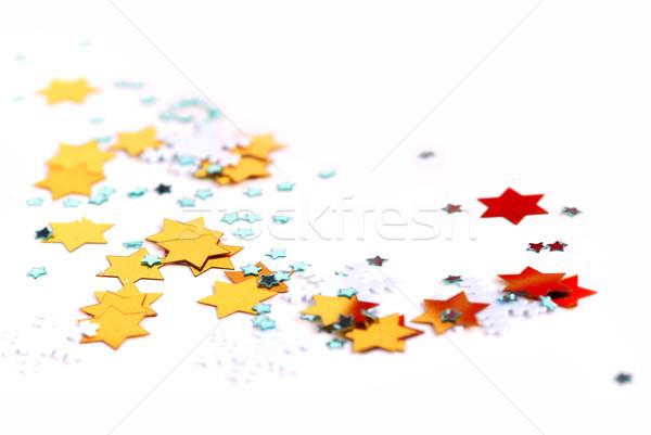 Stockfoto: Christmas · confetti · witte · groene · winter · Blauw