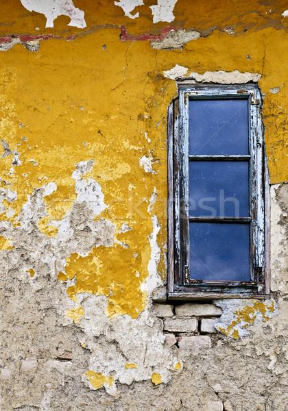 ストックフォト: グランジ · 壁 · ウィンドウ · 古い · 風化した · 描いた