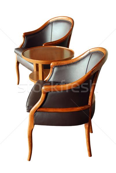 Mobiliário dois cadeiras mesa de café isolado branco Foto stock © elenaphoto