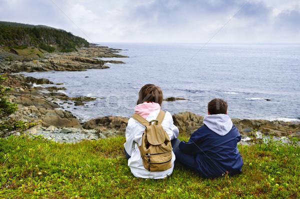Dzieci posiedzenia wybrzeża nowa fundlandia patrząc Zdjęcia stock © elenaphoto