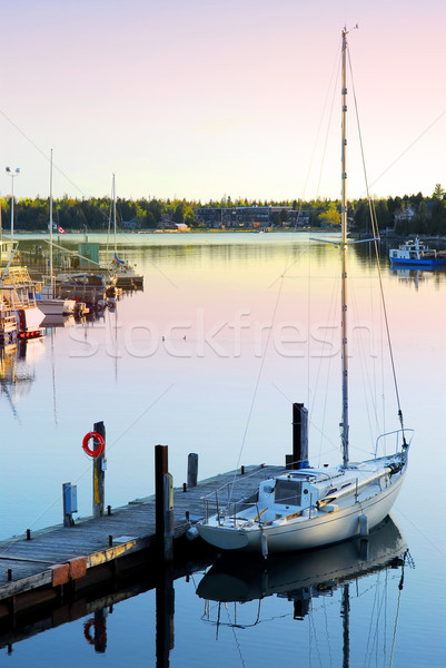 Yacht at sunrise Stock photo © elenaphoto