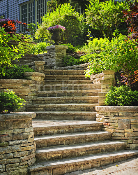 Stone stairs landscaping Stock photo © elenaphoto