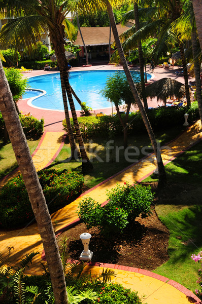 Garden landscaping at tropical resort Stock photo © elenaphoto