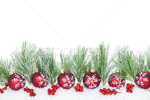 Сток-фото: Рождества · границе · красный · украшения · соснового