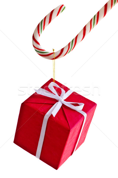 Candy cane and present Stock photo © elenaphoto