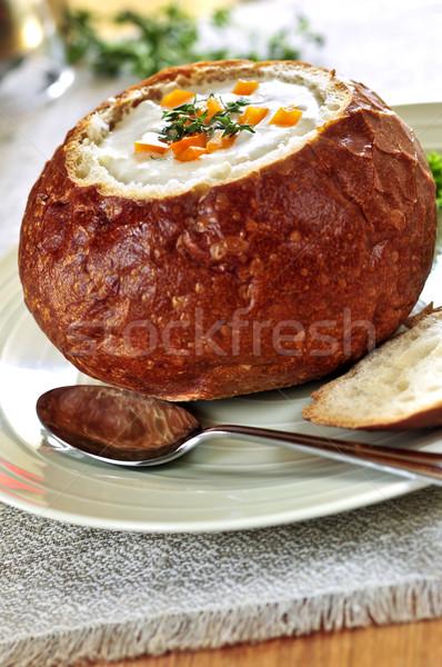 Soup in bread bowl Stock photo © elenaphoto