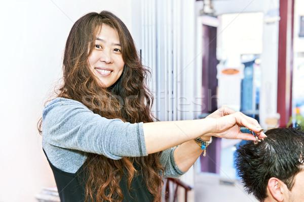 волос стилист рабочих счастливым парикмахерская Сток-фото © elenaphoto