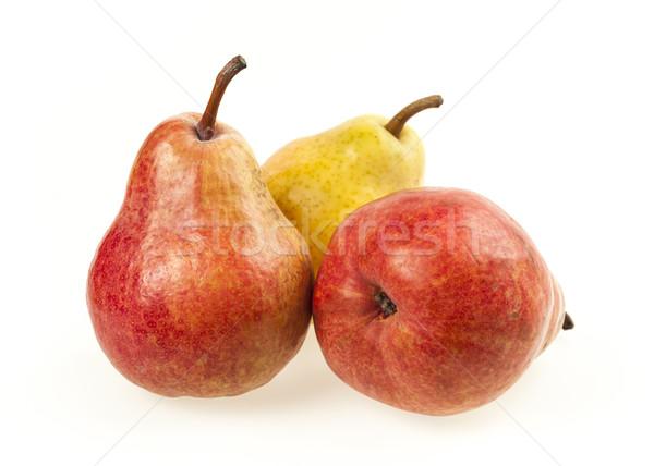 三 梨子 成熟 黃色 紅色 孤立 商業照片 © elenaphoto