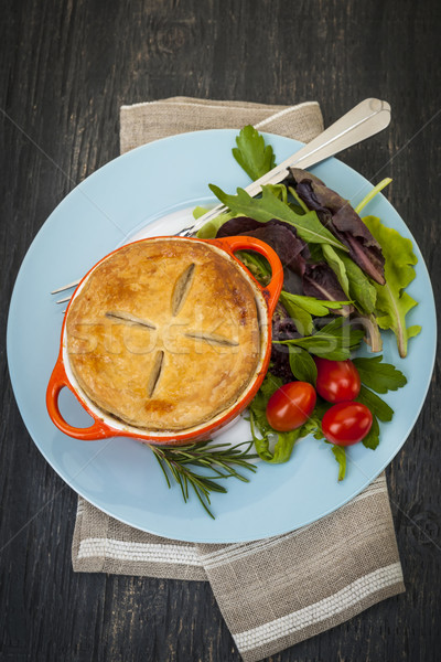 Stock photo: Homemade potpie meal with salad
