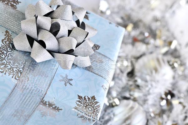 クリスマス ギフトボックス 銀 ボックス 青 ストックフォト © elenaphoto
