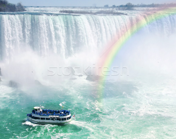 Regenboog toeristische boot Niagara Falls spectaculaire natuur Stockfoto © elenaphoto