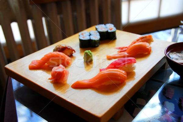 Stok fotoğraf: Sushi · akşam · yemeği · Japon · restoran · gıda · ahşap