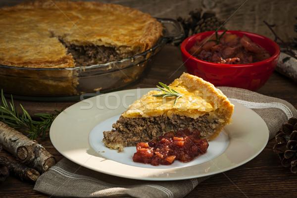Slice of meat pie Tourtiere Stock photo © elenaphoto