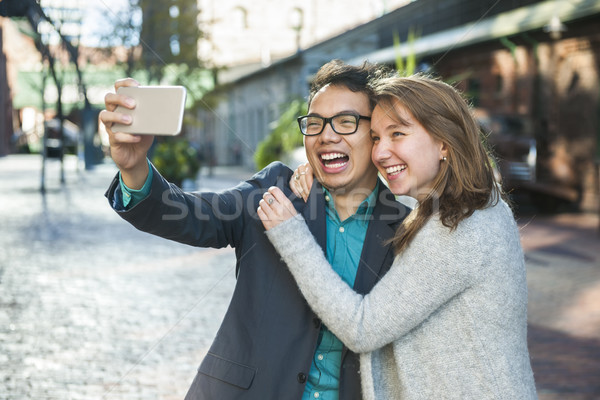 Young people taking selfie Stock photo © elenaphoto