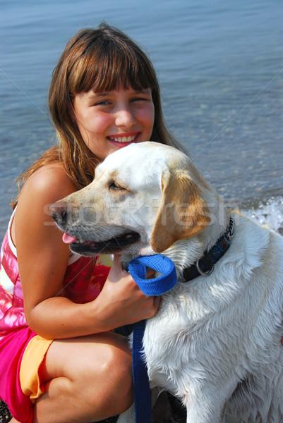 Girl dog portrait Stock photo © elenaphoto