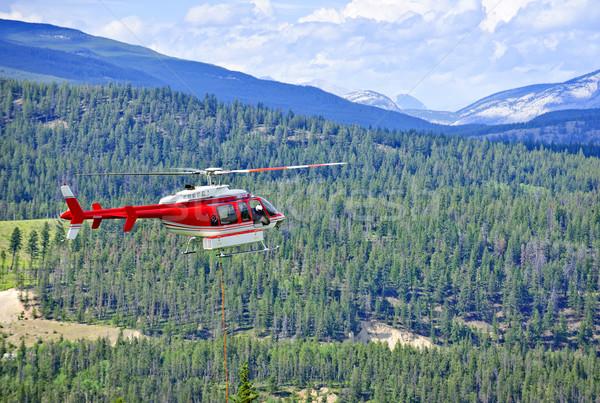 Stockfoto: Redding · helikopter · bergen · Rood · vliegen · nood