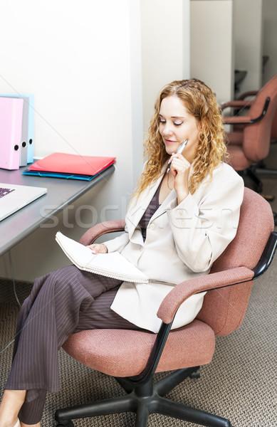 Iş kadını düşünme işkadını fikirler ofis Stok fotoğraf © elenaphoto