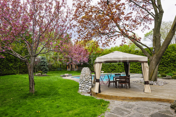 Backyard with gazebo and deck Stock photo © elenaphoto
