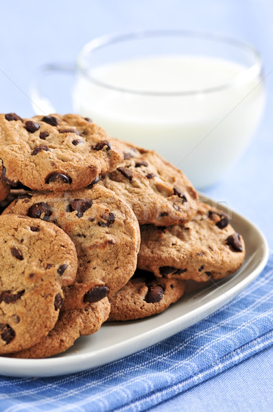 Milk and chocolate chip cookies Stock photo © elenaphoto