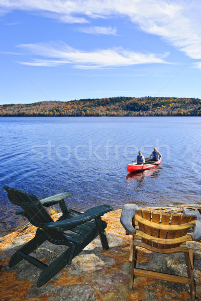 Canoeing on lake Stock photo © elenaphoto