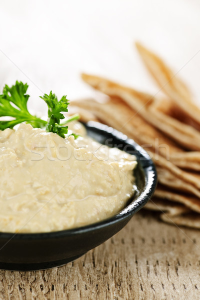 Stock photo: Hummus with pita bread
