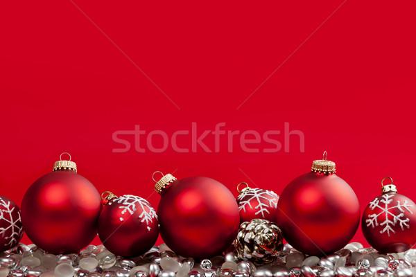 Rot Weihnachten Ornamente Silber Dekorationen hochrot Stock foto © elenaphoto