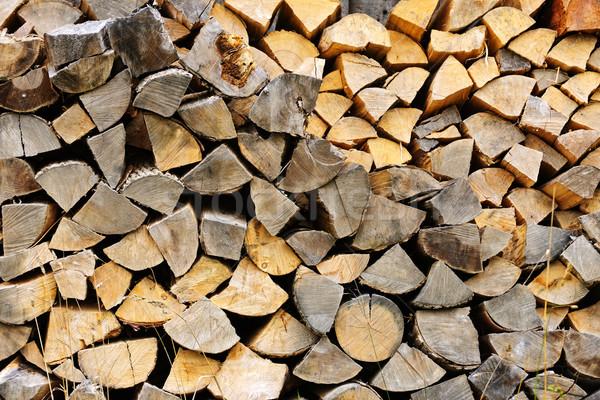 Yakacak odun kıyılmış yakıt kereste kahverengi kırsal Stok fotoğraf © elenaphoto