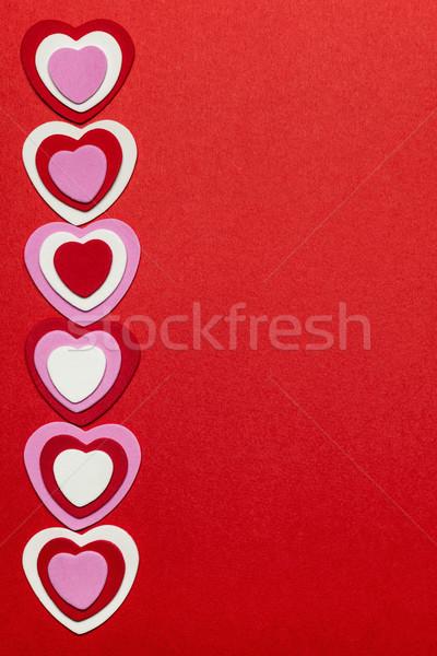 Rot Herzen Grenze romantischen rosa Stock foto © elenaphoto