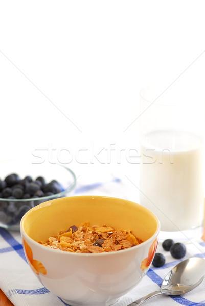 Stockfoto: Gezonde · ontbijt · ontbijtgranen · melk · bosbessen · geserveerd