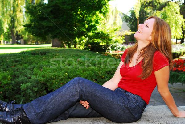 Mutlu olgun kadın rahatlatıcı yaz park kadın Stok fotoğraf © elenaphoto