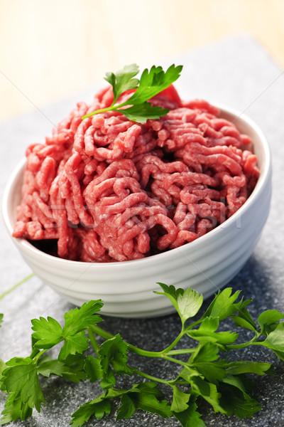 Bowl of raw ground meat Stock photo © elenaphoto