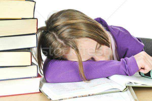 Stock fotó: Tinilány · tanul · asztal · lány · gyerekek · könyv
