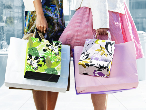 Women holding shopping bags Stock photo © elenaphoto