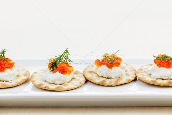 Caviale antipasti antipasto formaggio di capra bianco piatto Foto d'archivio © elenaphoto