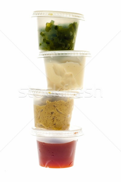 Stack of condiment containers Stock photo © elenaphoto