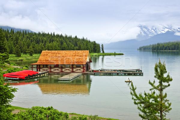 Boathouse on mountain lake Stock photo © elenaphoto