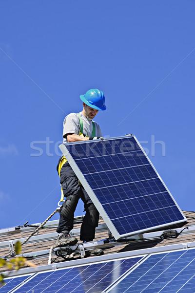 Stock fotó: Napelem · installáció · férfi · installál · alternatív · energia