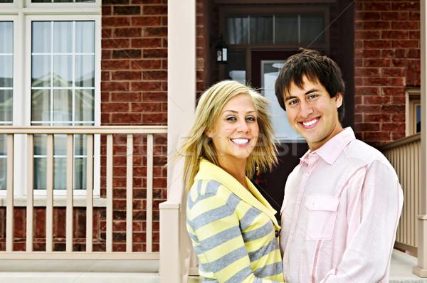 Happy couple at home Stock photo © elenaphoto
