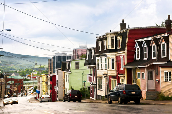 Kolorowy domów nowa fundlandia ulicy Kanada miasta Zdjęcia stock © elenaphoto
